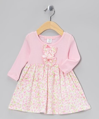 Pink Trellis Rose Ruffle Dress - Girls