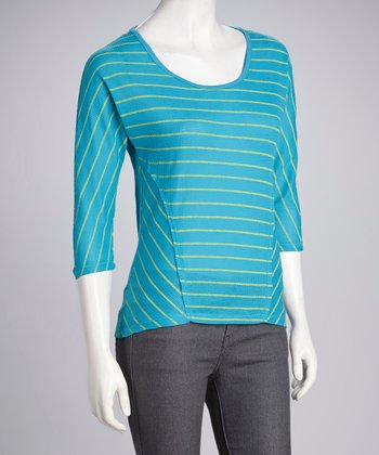 Neon Blue & Lime Stripe Top