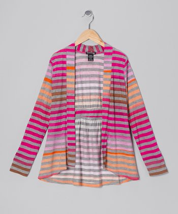 Heather Gray & Fuchsia Stripe Open Cardigan