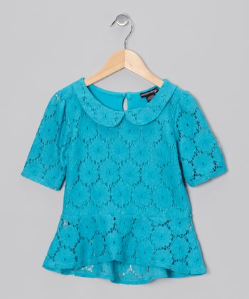 Pacific Ocean Lace Peplum Top - Girls
