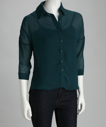 Teal Crisscross Back Button-Up Top