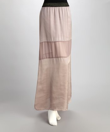 Mauve Sheer Inset Maxi Skirt