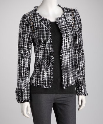 Black & White Stud Shoulder Tweed Jacket