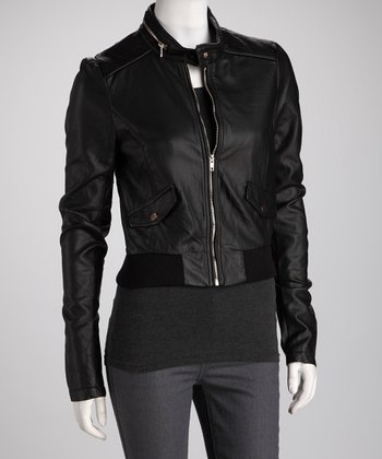 Black Zip Collar Bomber Jacket