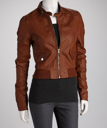 Brown Zip Collar Bomber Jacket