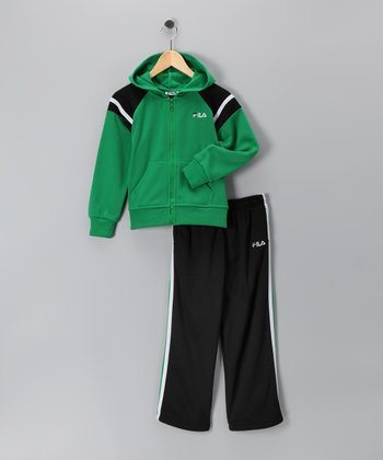 Green Fleece Zip-Up Hoodie & Sweatpants - Toddler