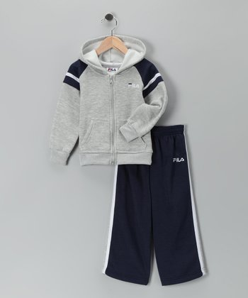 Navy Fleece Zip-Up Hoodie & Sweatpants - Toddler