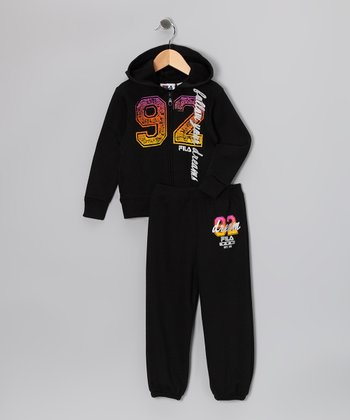 Black 'Dreams' Zip-Up Hoodie & Sweatpants - Toddler