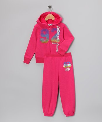 Hot Pink 'Dreams' Zip-Up Hoodie & Sweatpants - Toddler