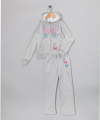 Gray Butterfly Star Zip-Up Hoodie & Pants - Toddler
