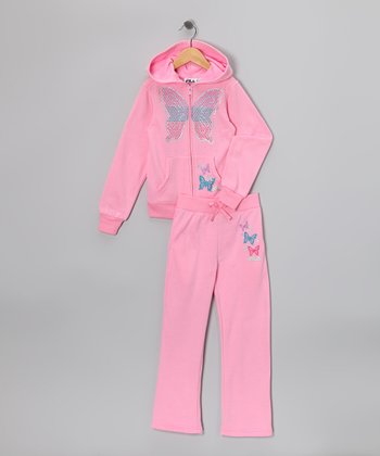 Pink Butterfly Star Zip-Up Hoodie & Pants - Toddler