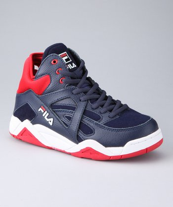 Charcoal & Red The Cage Hi-Top Basketball Sneaker