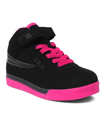 Black & Hot Pink Vulc 13 Hi-Top Sneaker