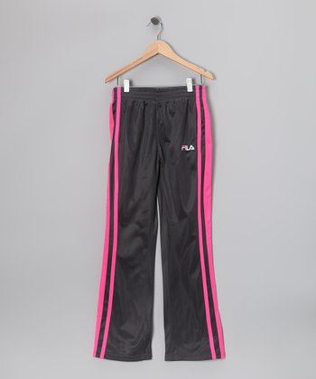 Forged Iron & Light Pink Stripe Track Pants - Girls