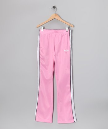 Light Pink & Black Track Pants - Girls