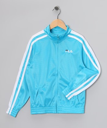 Ocean Blue & White Track Jacket - Boys