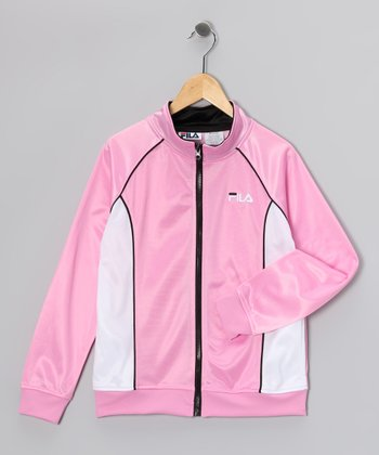 Light Pink & Black Raglan Jacket - Girls