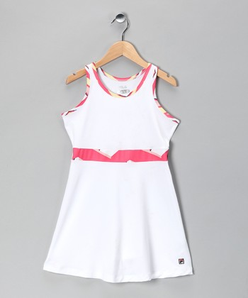 White & Pink Tennis Dress - Girls