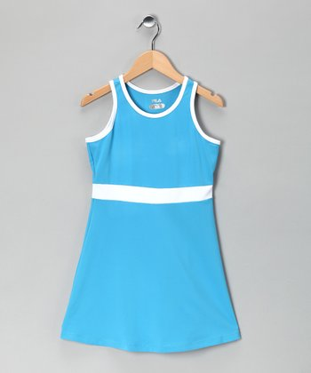 Isle Blue & White Tennis Dress - Girls
