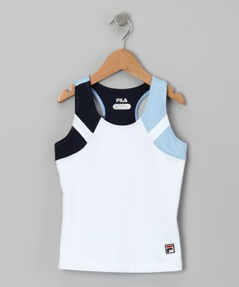 White & Bluebell Tank - Girls