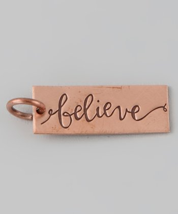 Copper 'Believe' Rectangle Charm