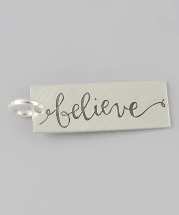 Sterling Silver 'Believe' Rectangle Charm