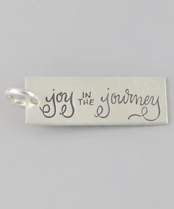 Sterling Silver 'Joy in the Journey' Rectangle Charm