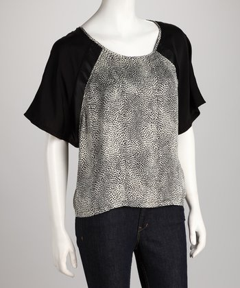 Black Abstract Raglan Top