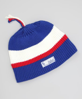 Blue & White USA Wool-Blend Beanie