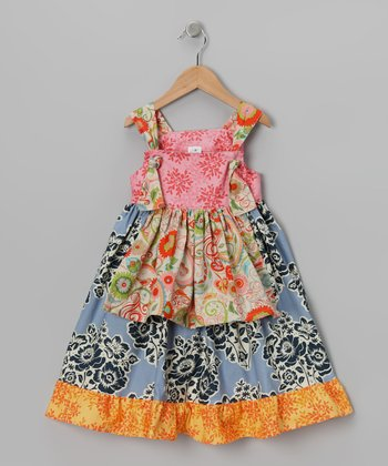 Midnight & Pink Floral Apron Dress - Toddler & Girls