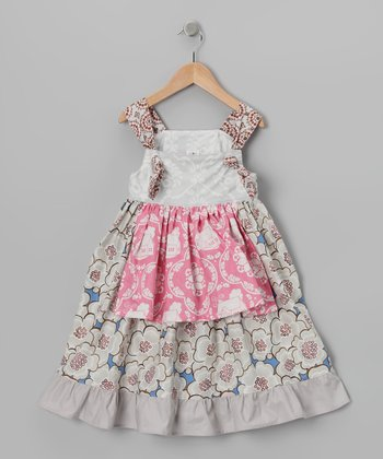 Gray Floral Apron Dress - Toddler & Girls