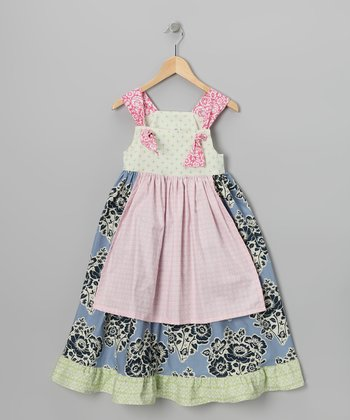 Midnight & Green Floral Apron Dress - Toddler & Girls