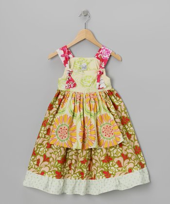 Peach & Olive Floral Apron Dress - Toddler & Girls
