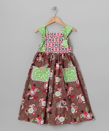 Brown Peacock Knot Dress - Toddler & Girls