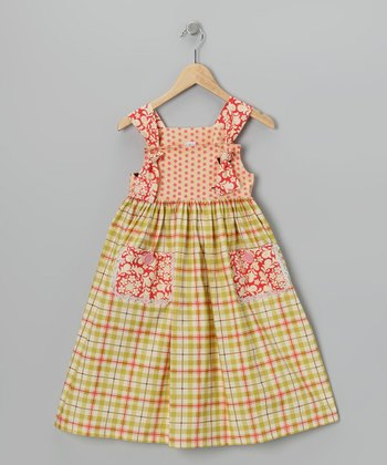 Green Plaid Apron Dress - Toddler & Girls