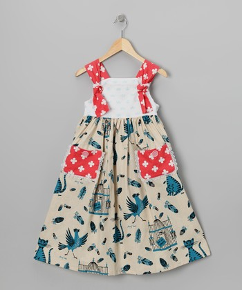Tan Bird & Cat Apron Dress - Toddler & Girls