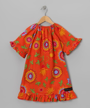 Orange Floral Peasant Dress - Toddler & Girls