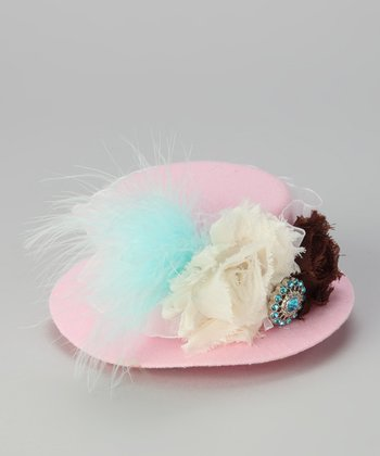 Pink & White Feather Tiny Top Hat
