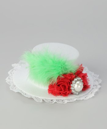 White & Red Tiny Top Hat