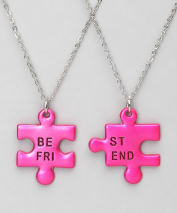 Pink Puzzle Necklace Set
