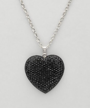 Black Heart Sparkle Necklace