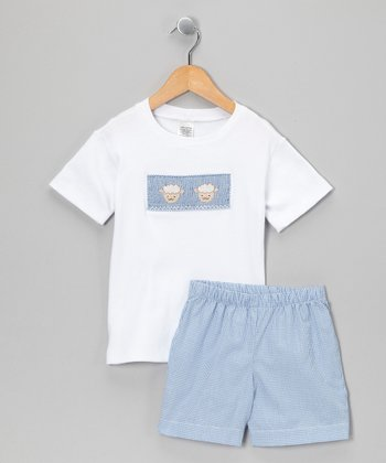 White & Blue Lamb Tee & Shorts - Infant