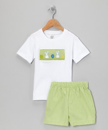 White & Lime Bunny Tee & Shorts - Infant