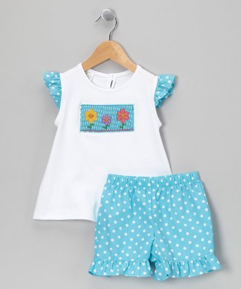 White & Teal Polka Dot Flower Top & Shorts - Infant