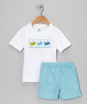 White & Teal Gingham Whale Tee & Shorts - Toddler