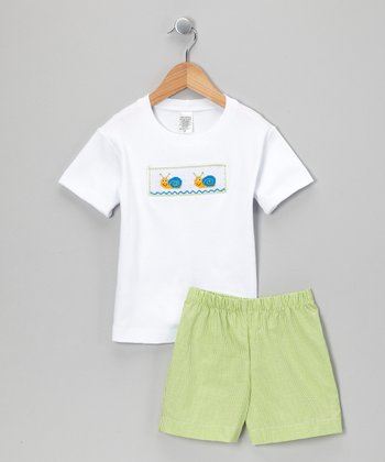 White & Lime Gingham Snail Tee & Shorts - Infant