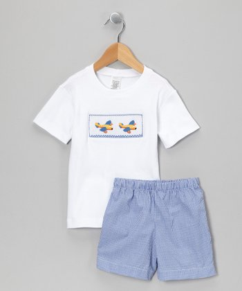 White & Blue Gingham Airplane Tee & Shorts - Infant