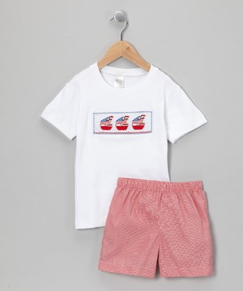 White & Red Gingham Sailboat Tee & Shorts - Infant