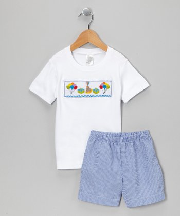 White & Blue Gingham Birthday Boy Tee & Shorts - Infant