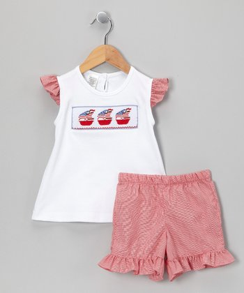 White & Red Gingham Sailboat Top & Shorts - Infant